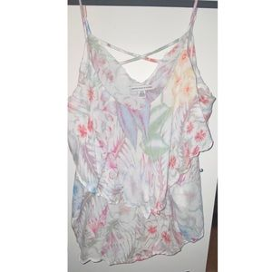 Flowy tank top with criscross detail on back